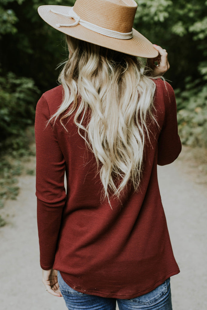 Long Sleeve Pocket Peplum in Maroon | ROOLEE