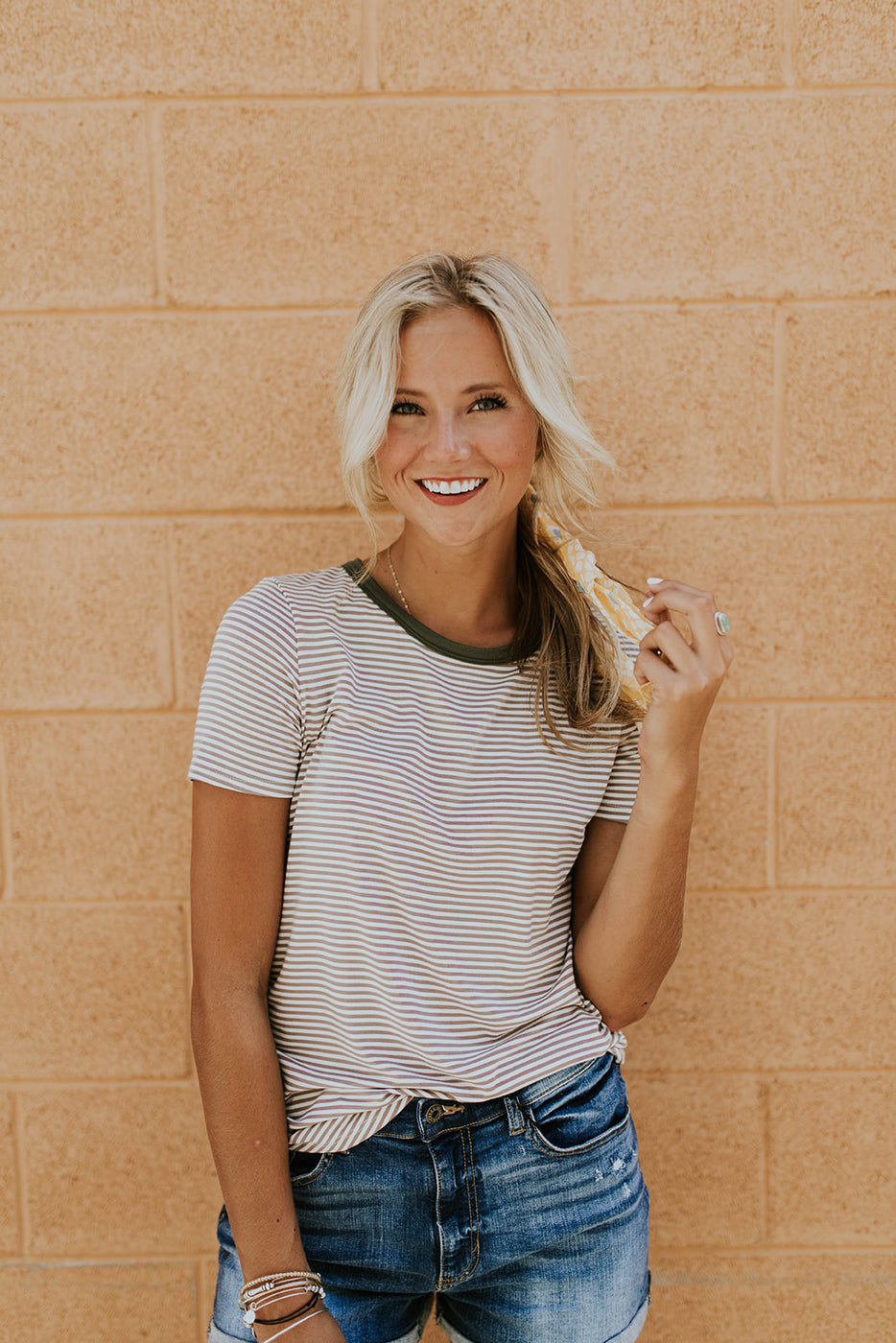 Taupe + White Stripe Tee | ROOLEE