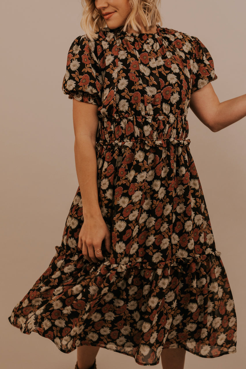 Muted Black Floral Dress | ROOLEE