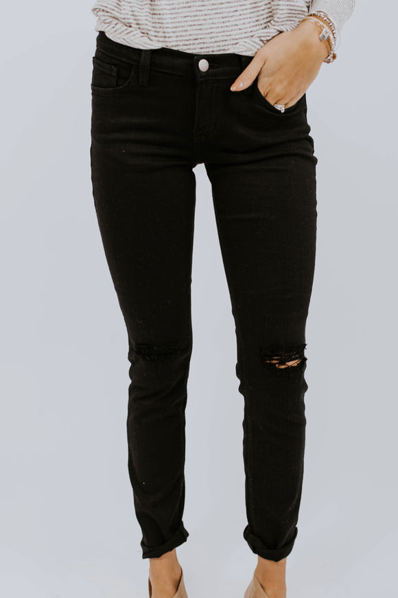 Distressed Black Skinny Jeans | ROOLEE