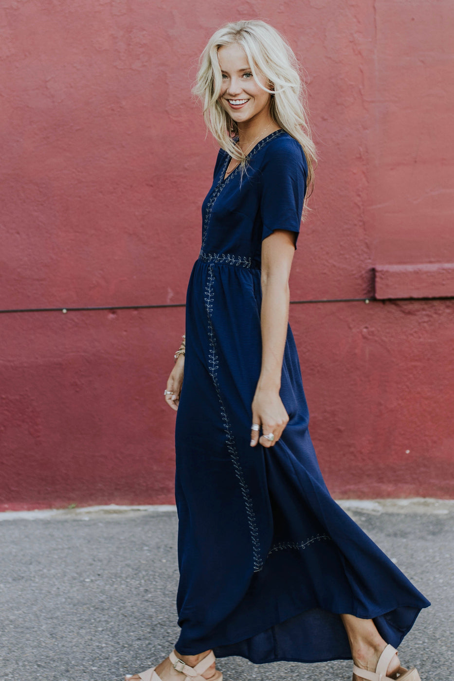 Navy Blue Stitching Detail Dress | ROOLEE