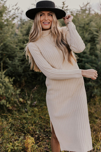Ribbed Turtleneck Sweater Dress | ROOLEE