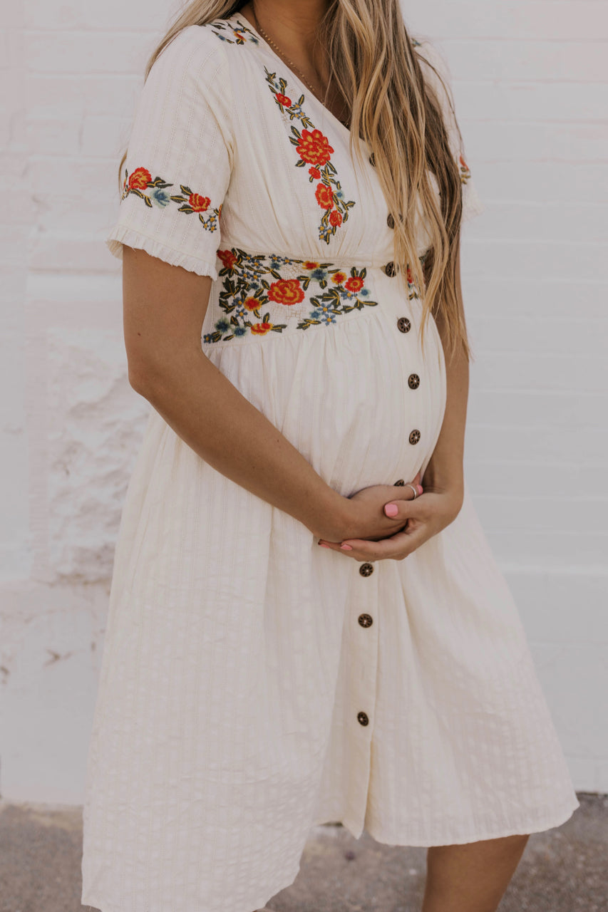 Embroidered Maternity Dress | ROOLEE