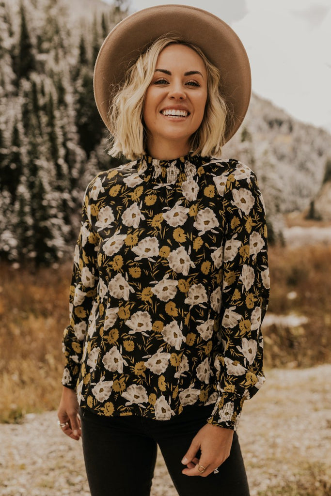High Neck Floral Blouse | ROOLEE
