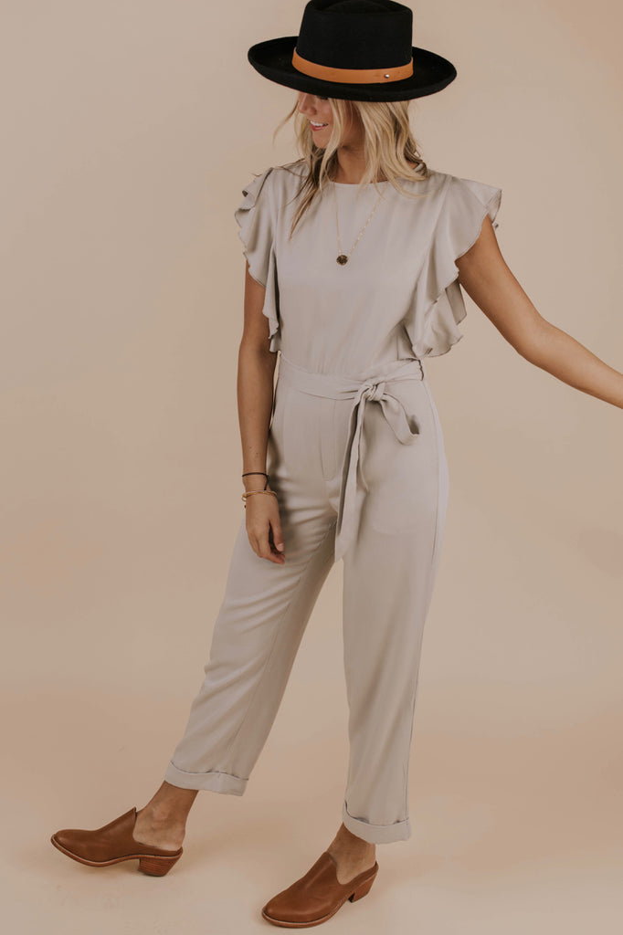 Butterfly Sleeve Grey Jumpsuit | ROOLEE