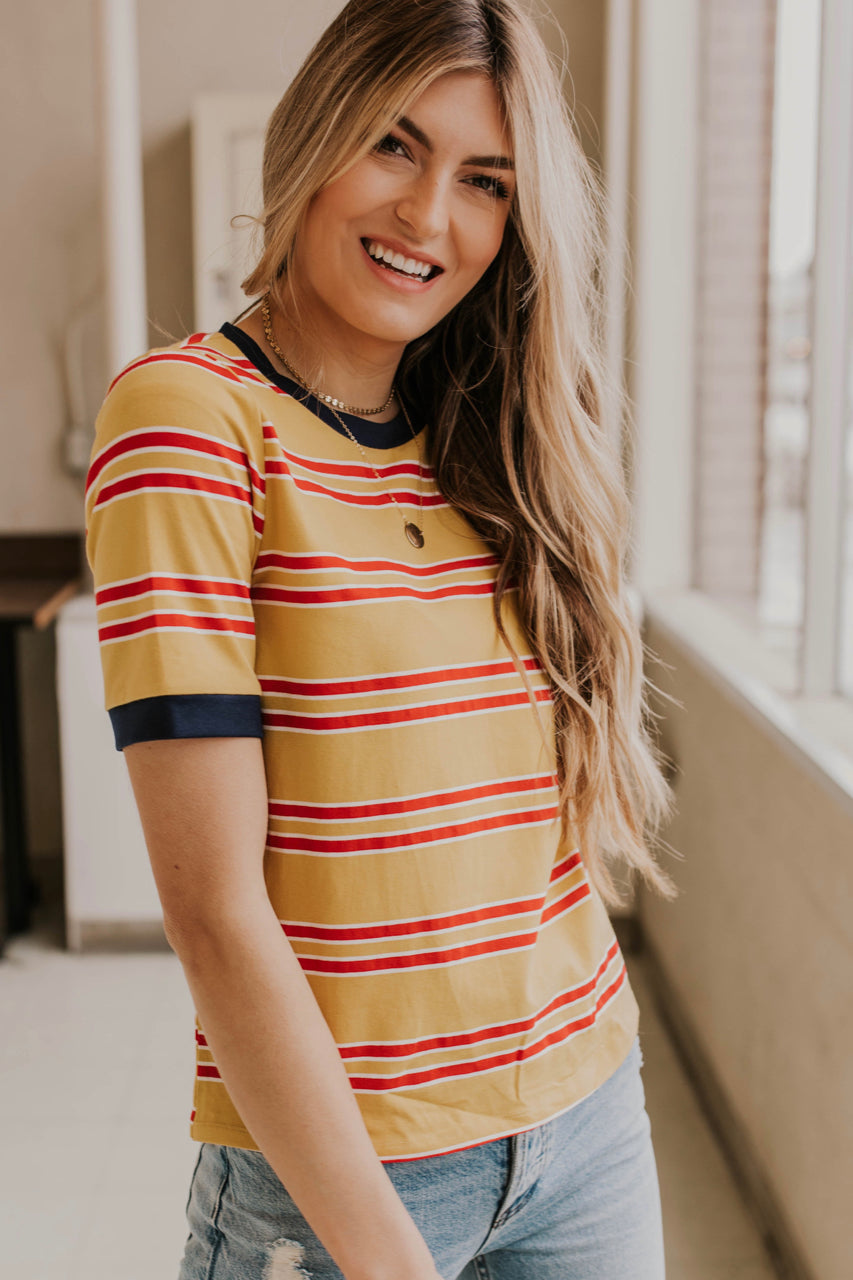 Stripe Tee Shirt Outfit Ideas | ROOLEE