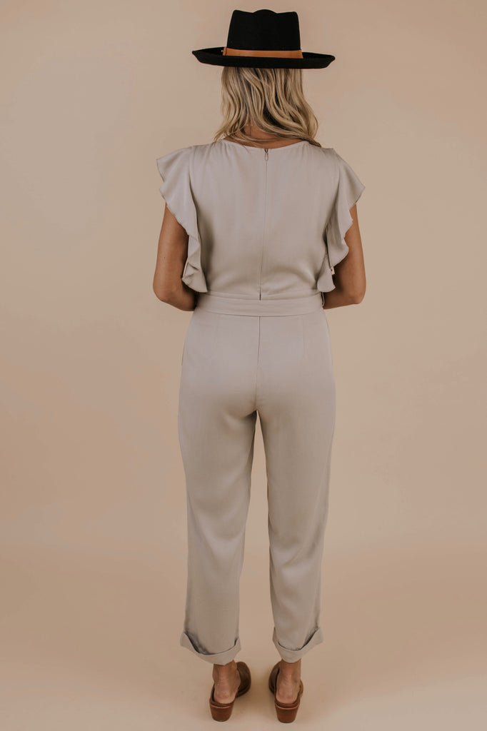 Light Grey Ruffle Jumpsuit | ROOLEE