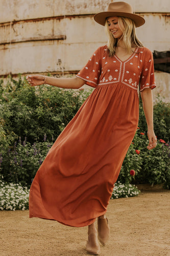 Embroidered Maxi Dress | ROOLEE