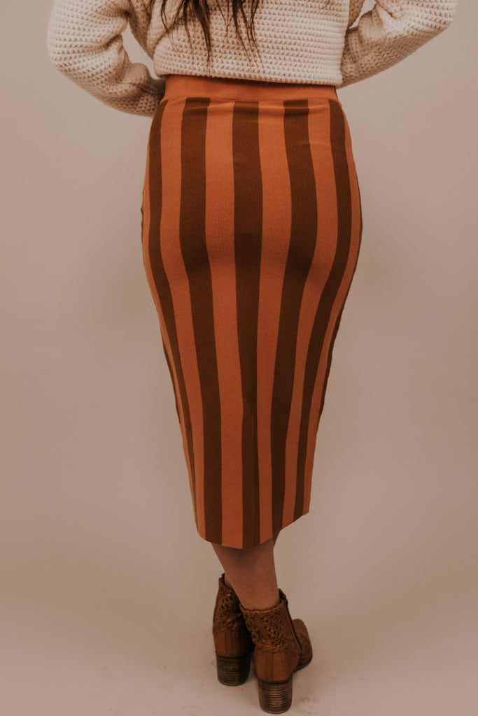 Brown Vertical Stripe Skirt | ROOLEE