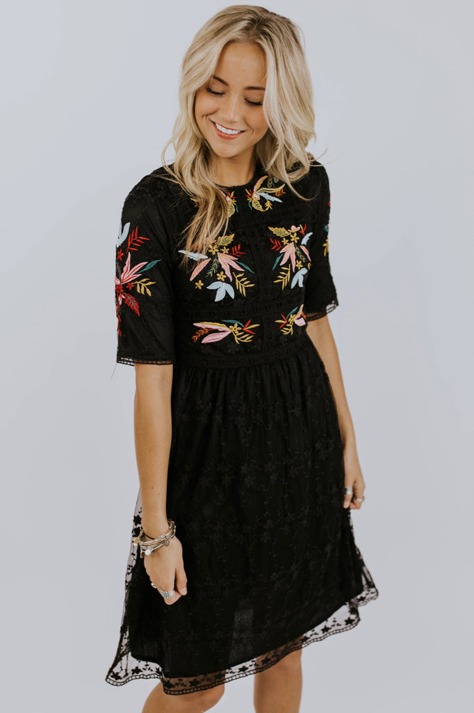 Black Embroidered Dress | ROOLEE