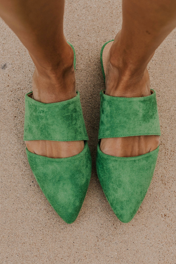 Hunter Green Cutout Mules | ROOLEE