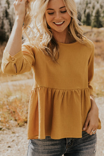 Mustard Textured Peplum Blouse for Layering | ROOLEE