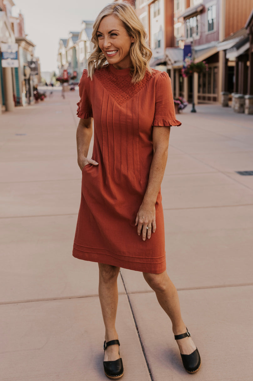 High Neck Embroidered Dress | ROOLEE