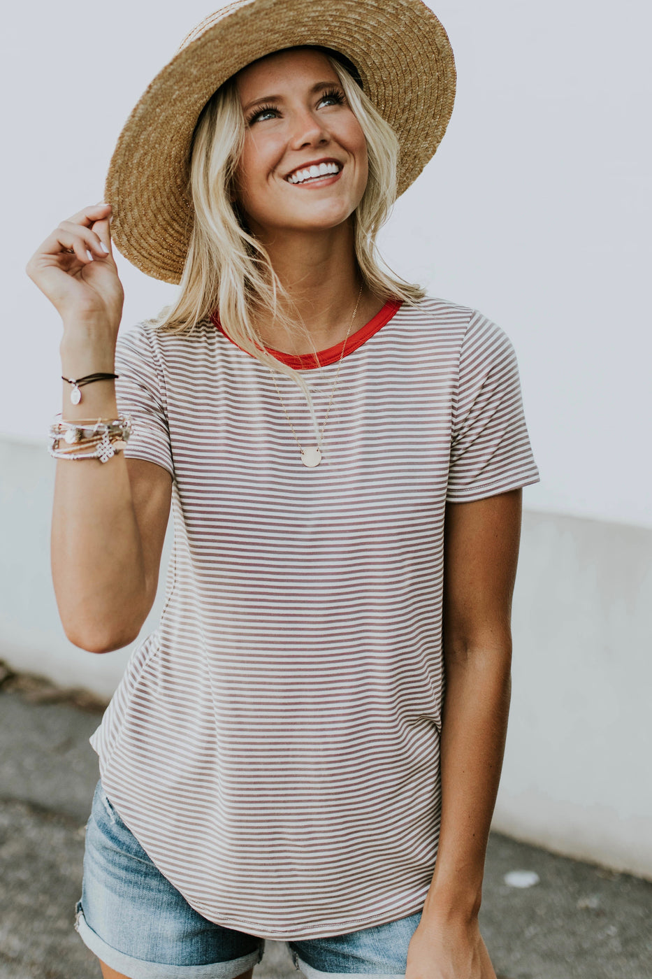 Angelina Stripe Tee in Red | ROOLEE