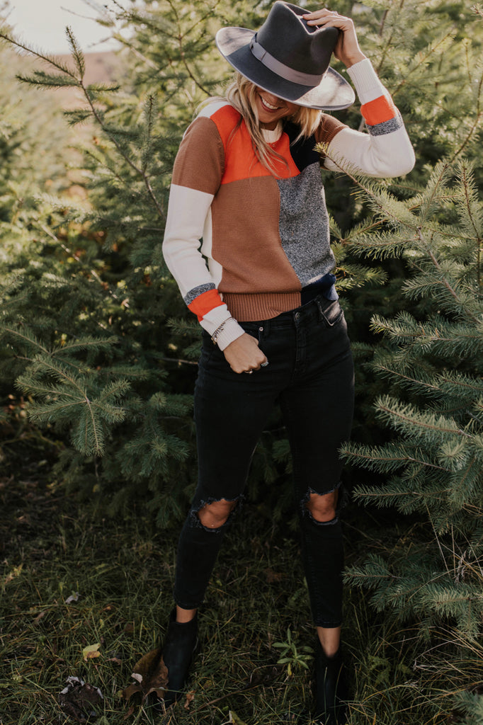 Bold Colorblock Knit Sweater | ROOLEE