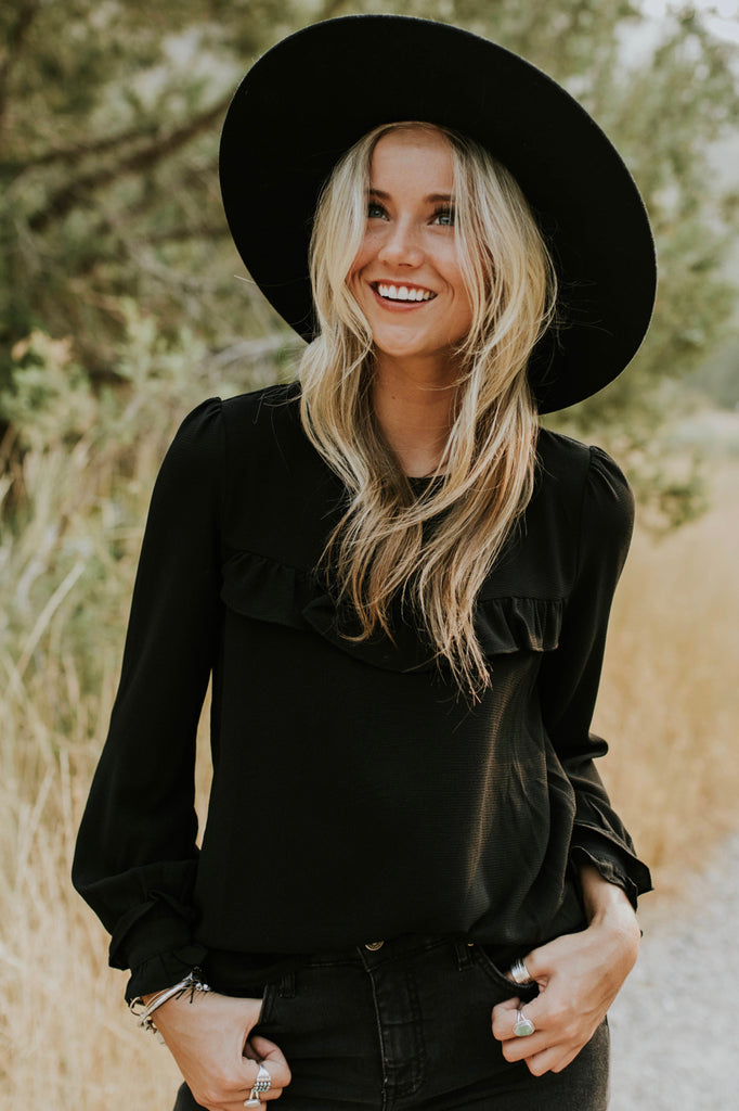 Cynthia Ruffle Blouse in Black | ROOLEE