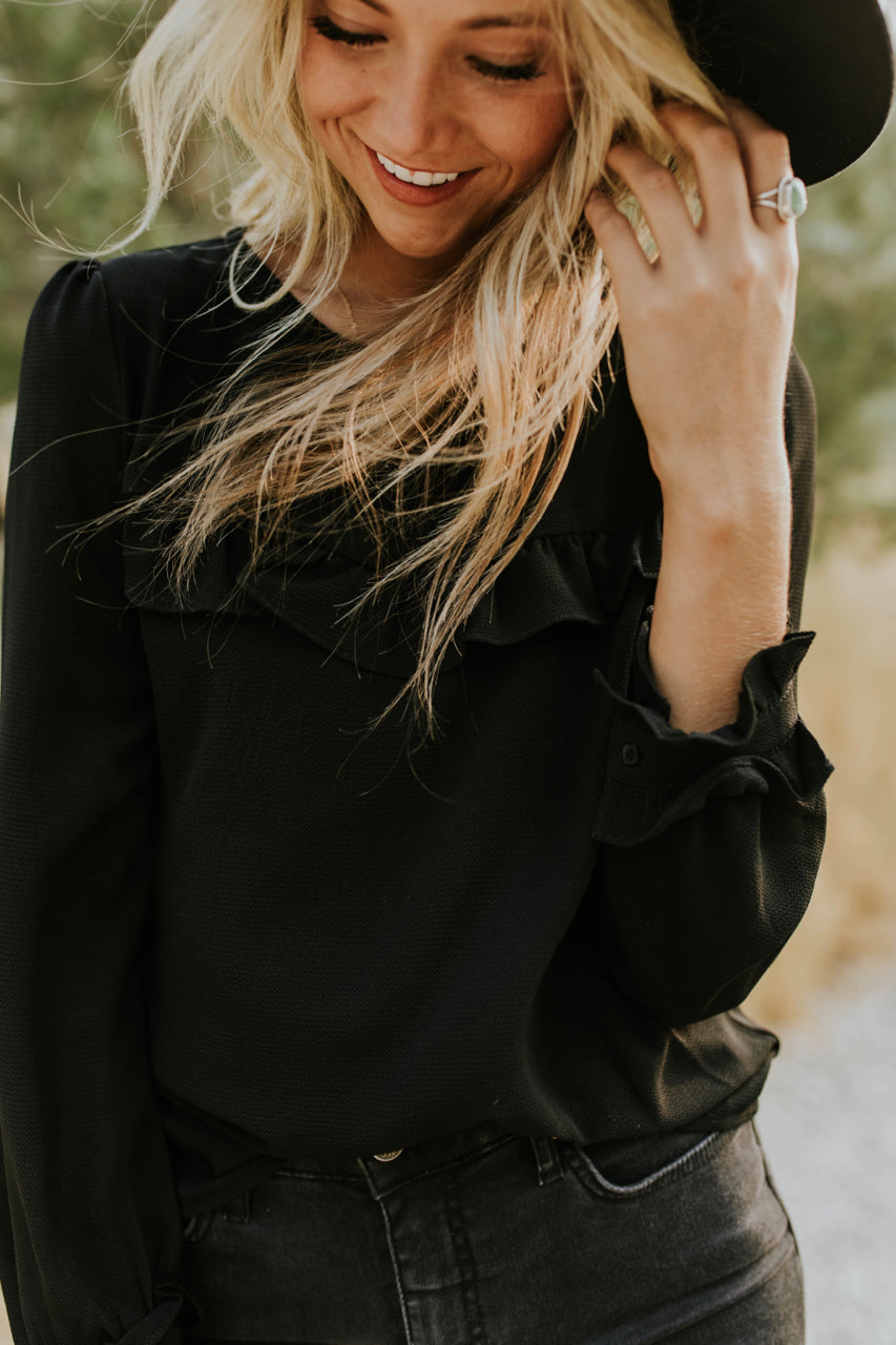 Long Sleeve Ruffle Blouse in Black | ROOLEE
