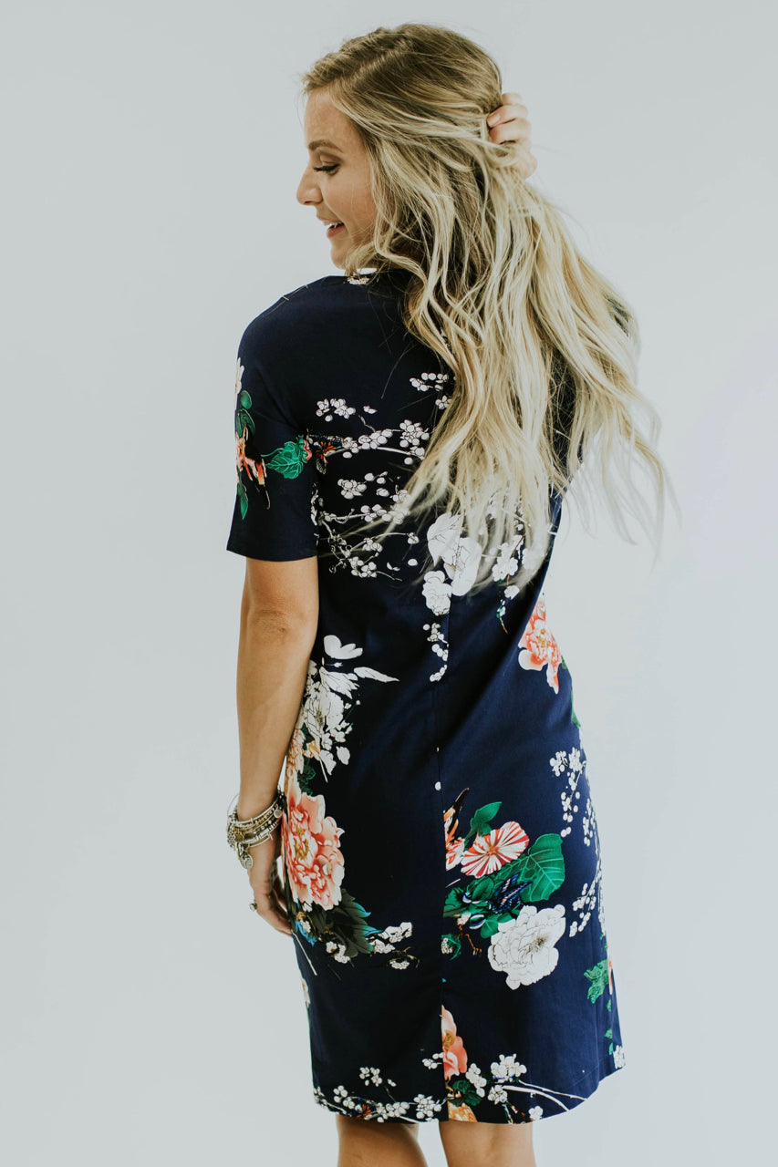 BodyCon Floral Dress in Black | ROOLEE