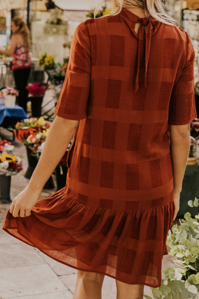 Rust Plaid Dress | ROOLEE