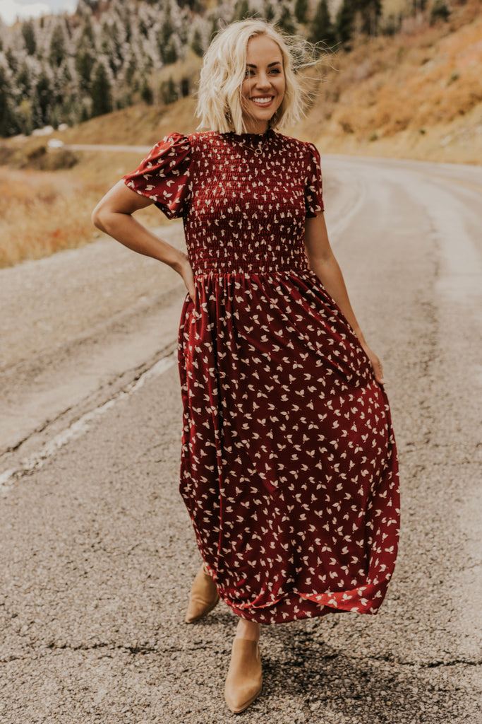 Burgundy Print Holiday Dress for Women | ROOLEE