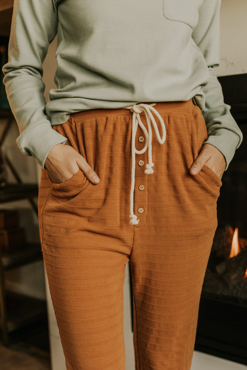 High Rise Rust Knit Pajama Loungewear Bottoms | ROOLEE