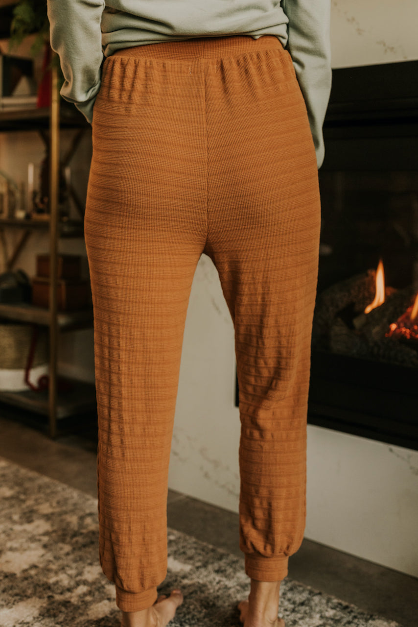 Drawstring Waist Rust Colored Knit Loungewear | ROOLEE
