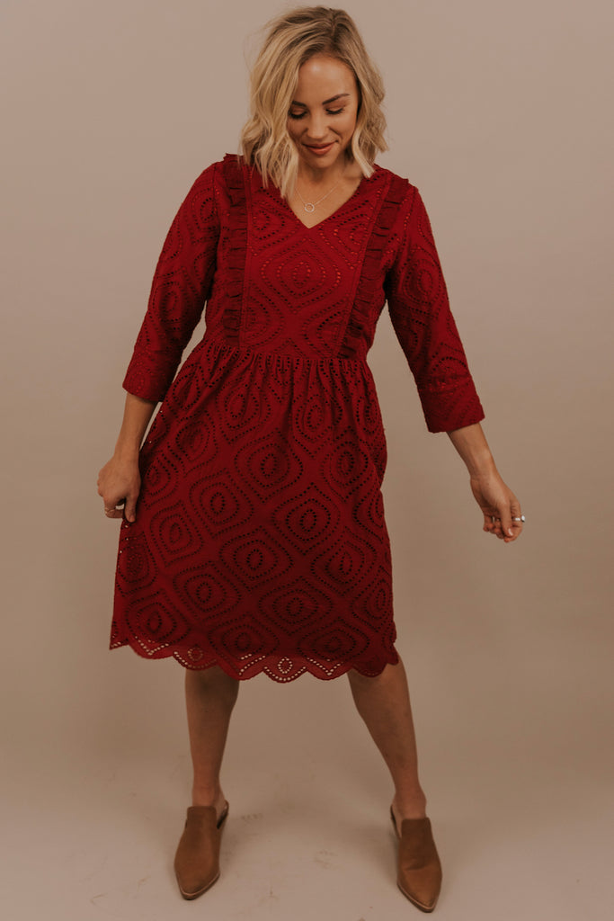 Red lace women's dress | ROOLEE