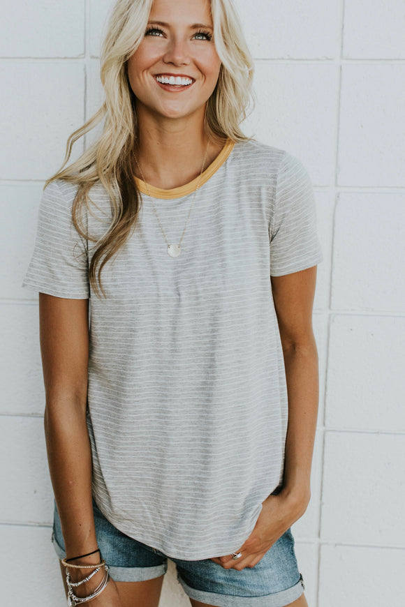 Clementine Stripe Tee in Grey | ROOLEE