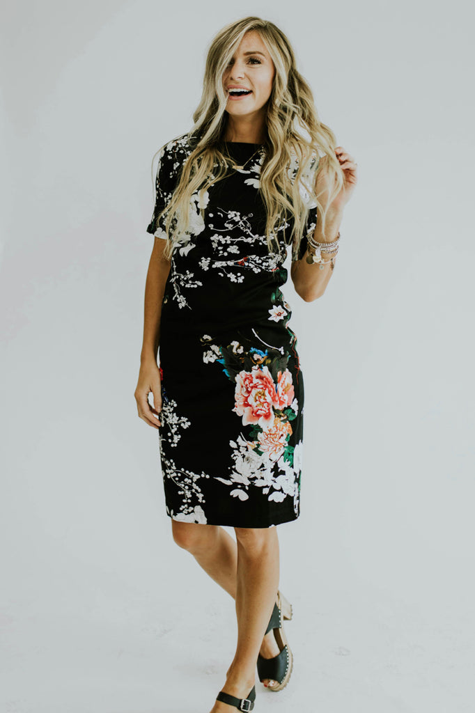 Black Floral Dress Outfit | ROOLEE