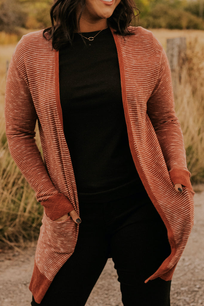 Red Fall Stripe Layering Cardigan | ROOLEE
