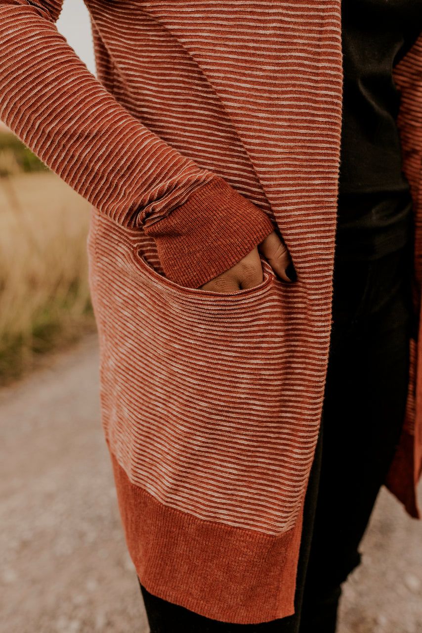Detail Pocket Striped Cardigan for Winter | ROOLEE