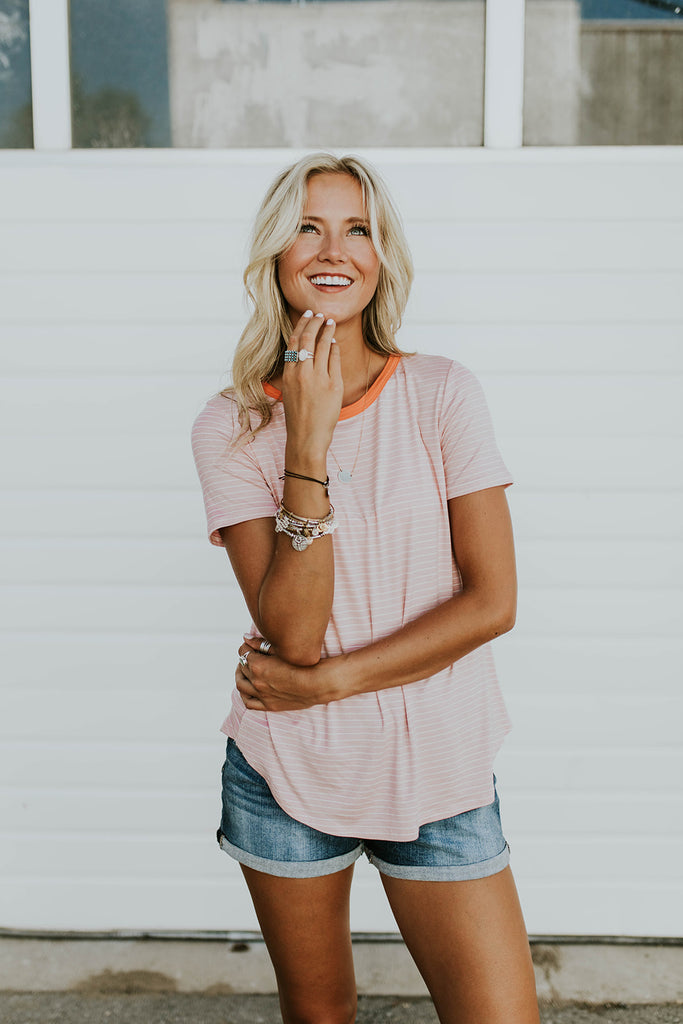 Pink + White Stripe Tee | ROOLEE