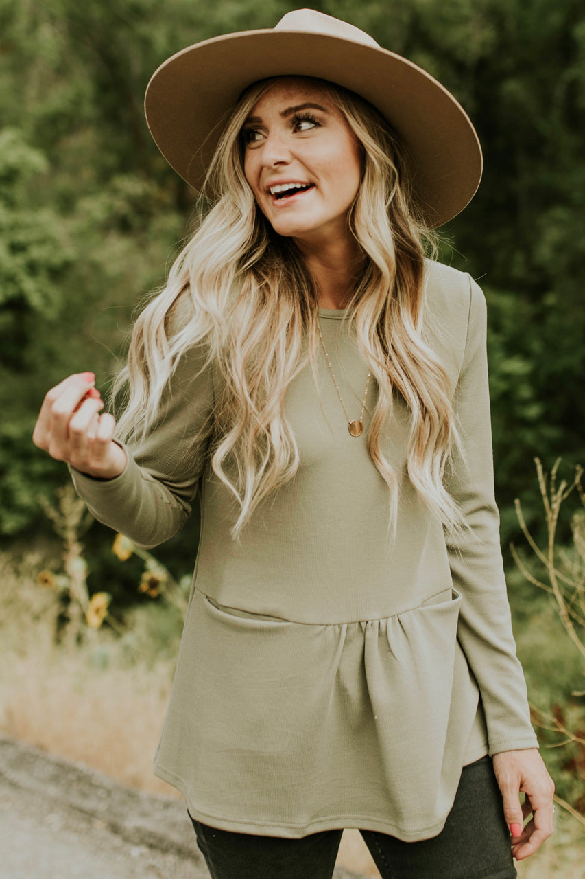 Olive Green Pocket Peplum | ROOLEE