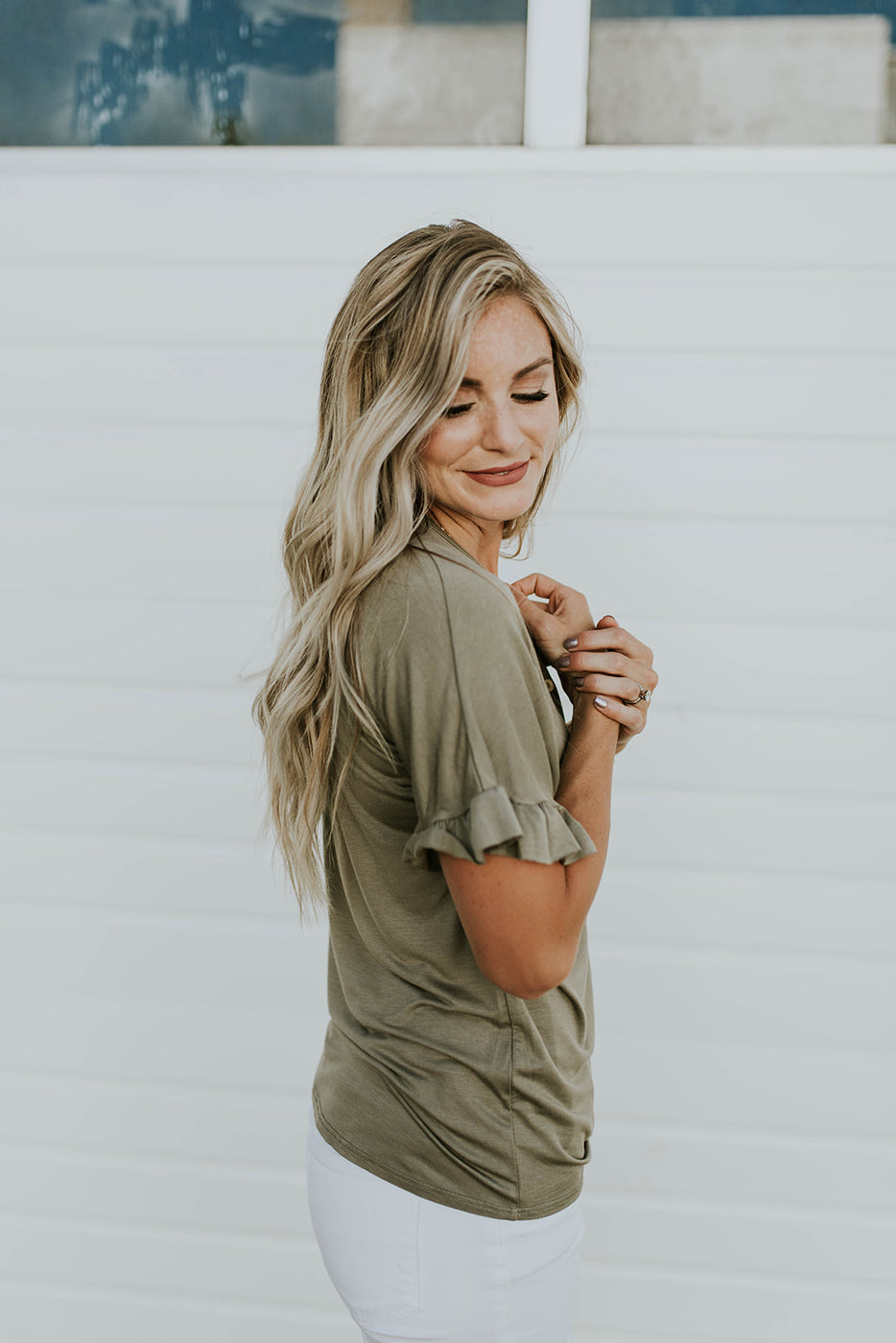 Tie Blouse w/Short Ruffle Sleeves | ROOLEE