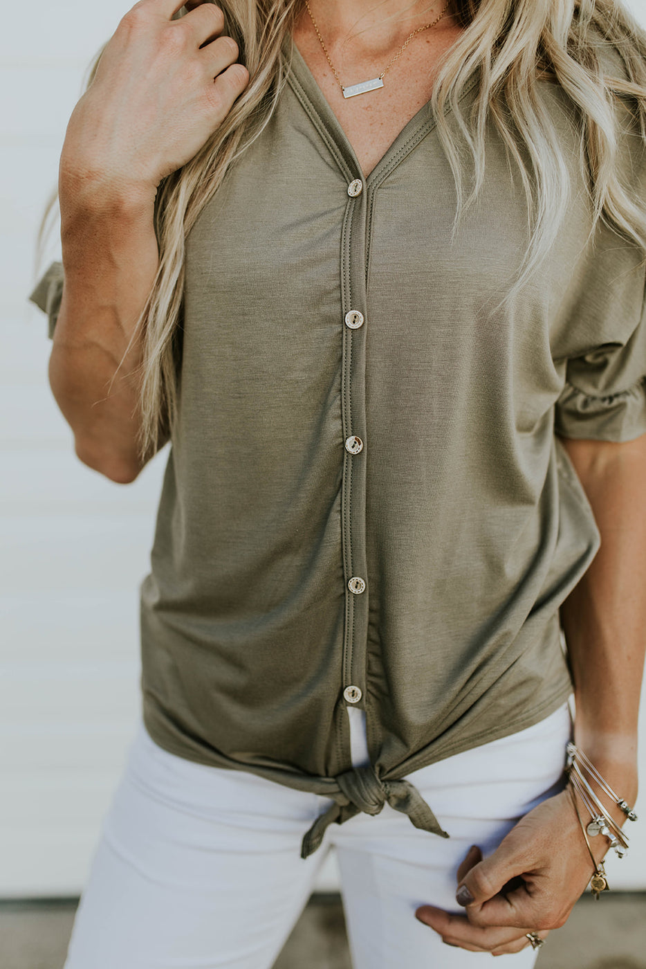 Button Up Ruffle Blouse w/Tie Hem | ROOLEE