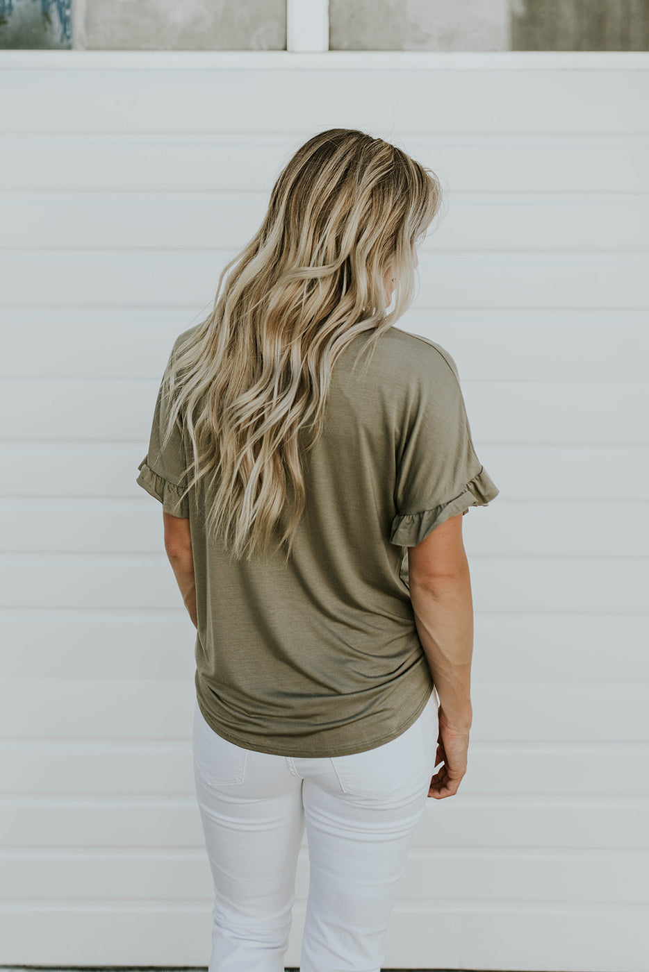 Olive Green Short Sleeve Blouse | ROOLEE