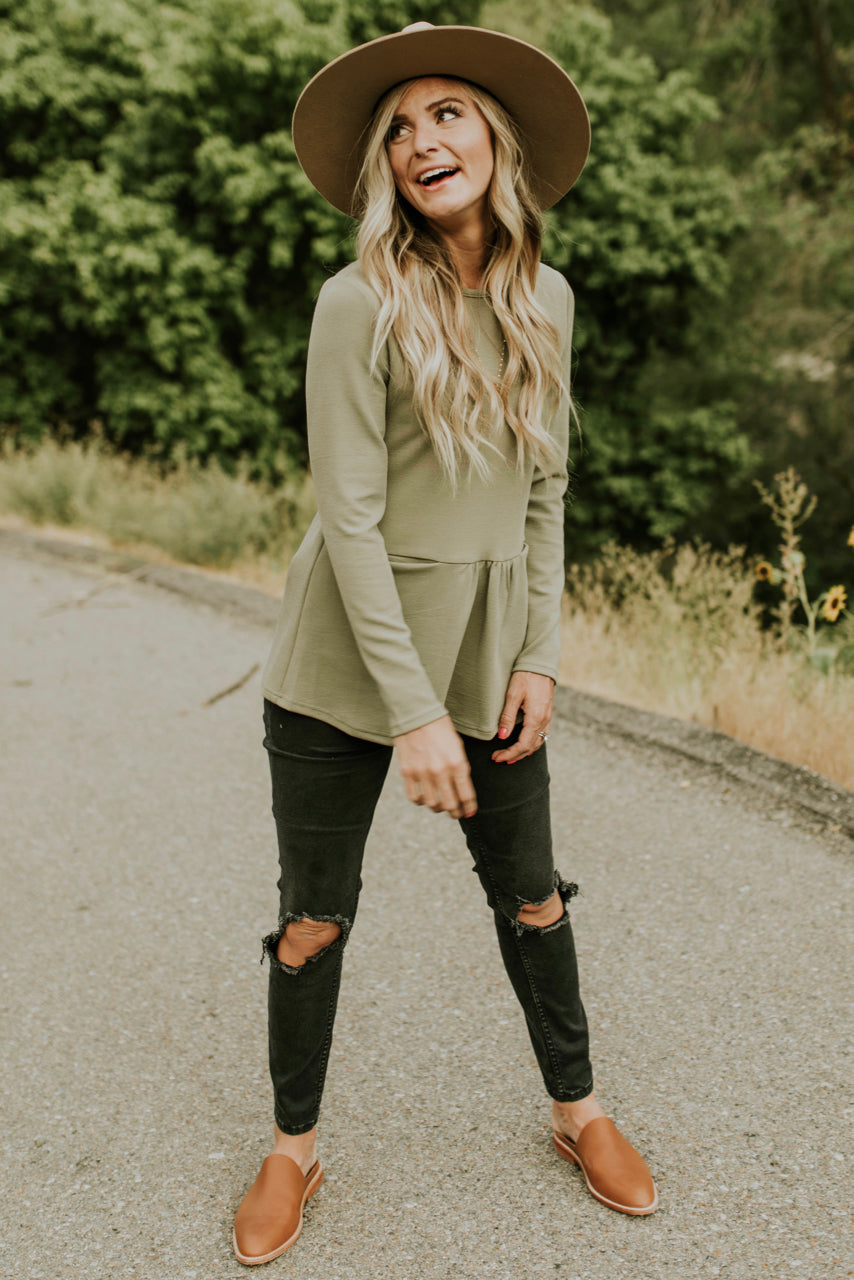 Long Sleeve Peplum Top Outfit | ROOLEE