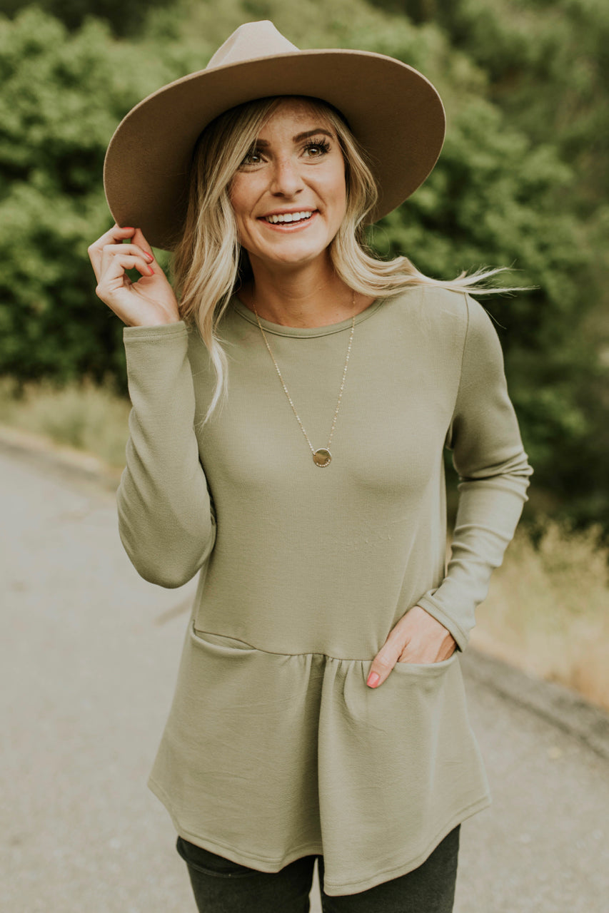 Berlin Pocket Peplum in Sage | ROOLEE