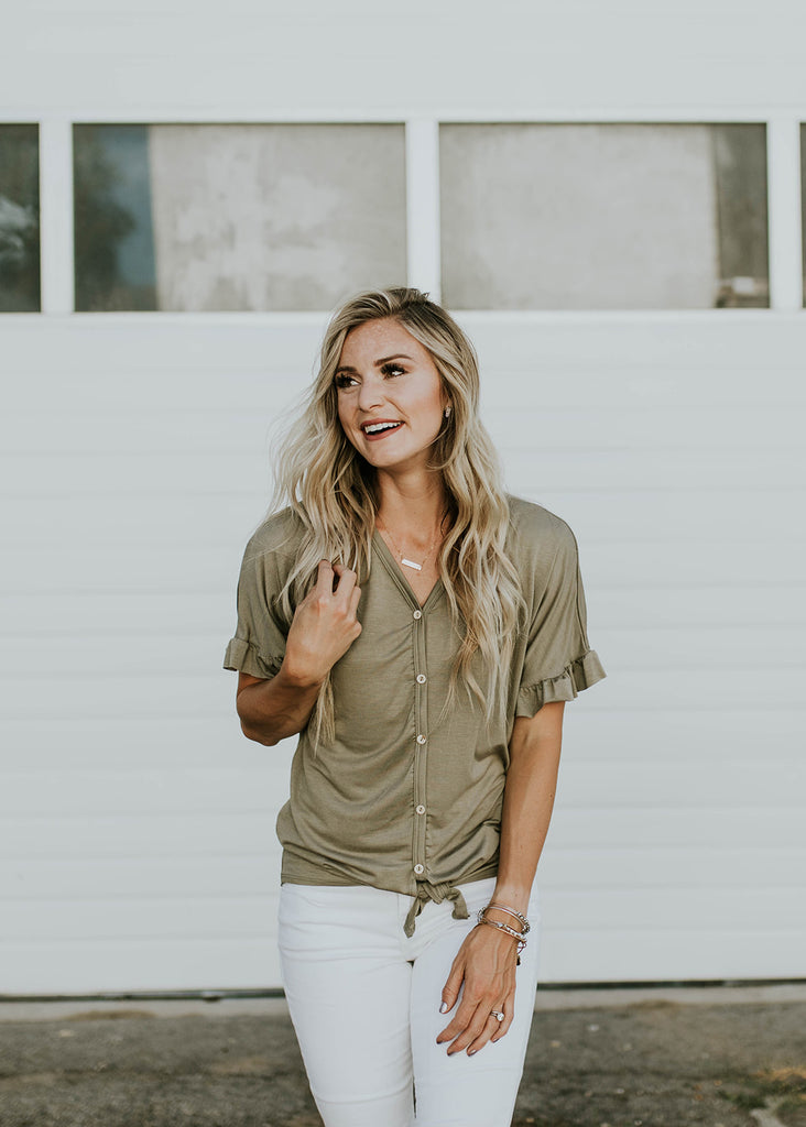 Short Sleeve Button Up Blouse | ROOLEE