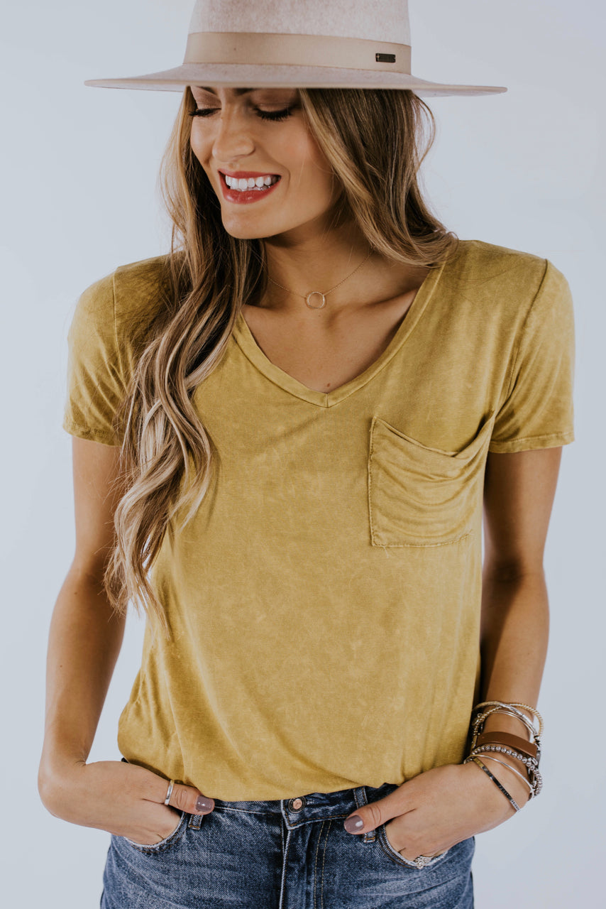Rae Distressed Tee in Mustard | ROOLEE