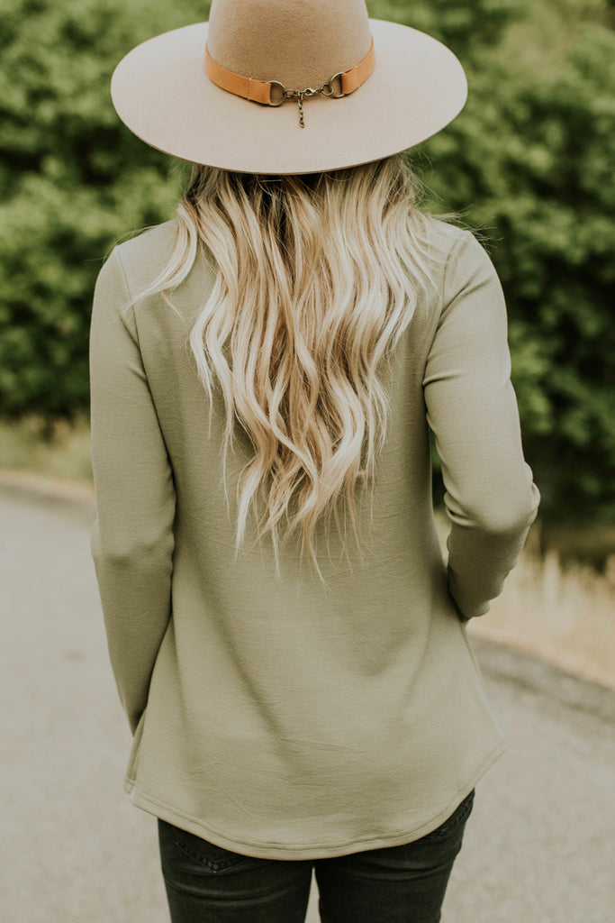 Long Sleeve Peplum in Olive Green | ROOLEE