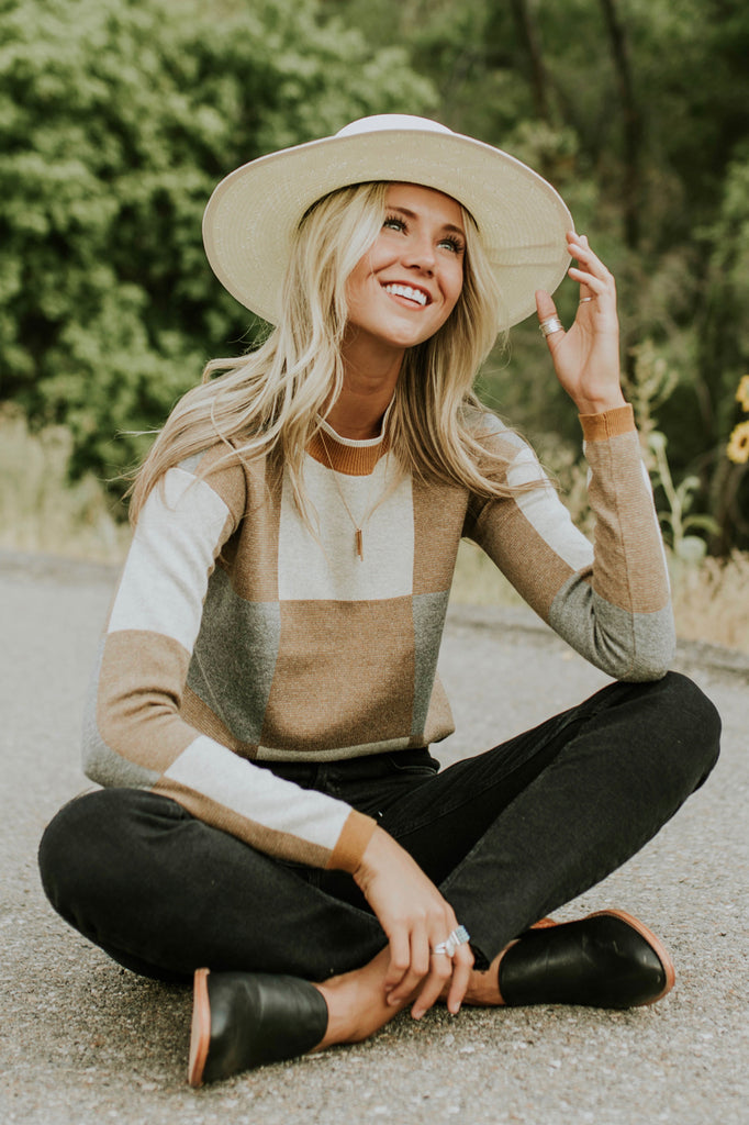Brown + Grey Colorblock Sweater | ROOLEE