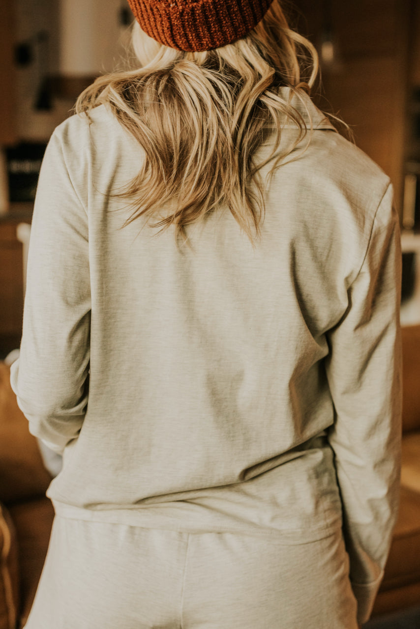 Light Grey Collared Pajama Top | ROOLEE