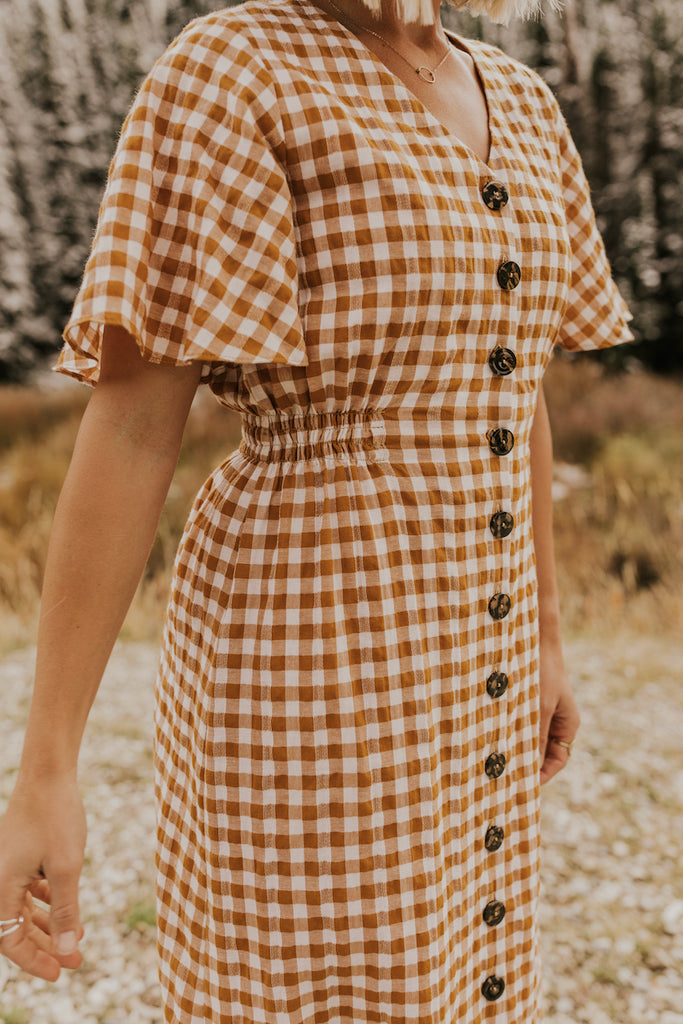 Button Checker Dress | ROOLEE