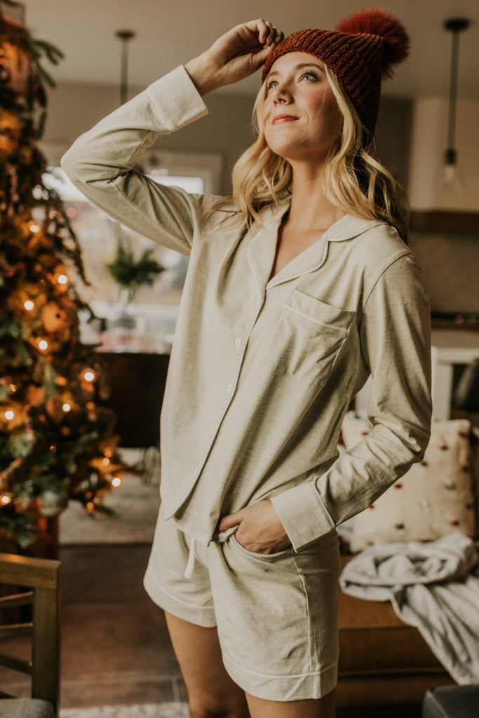 Natural Grey Pajama Set | ROOLEE