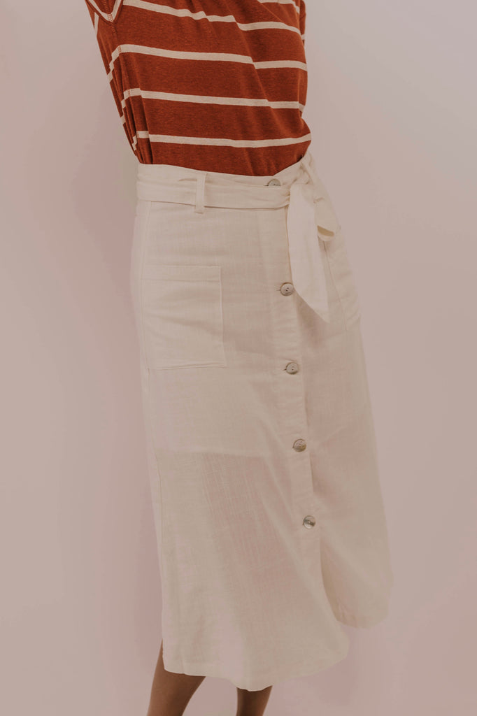 White Button Skirt | ROOLEE