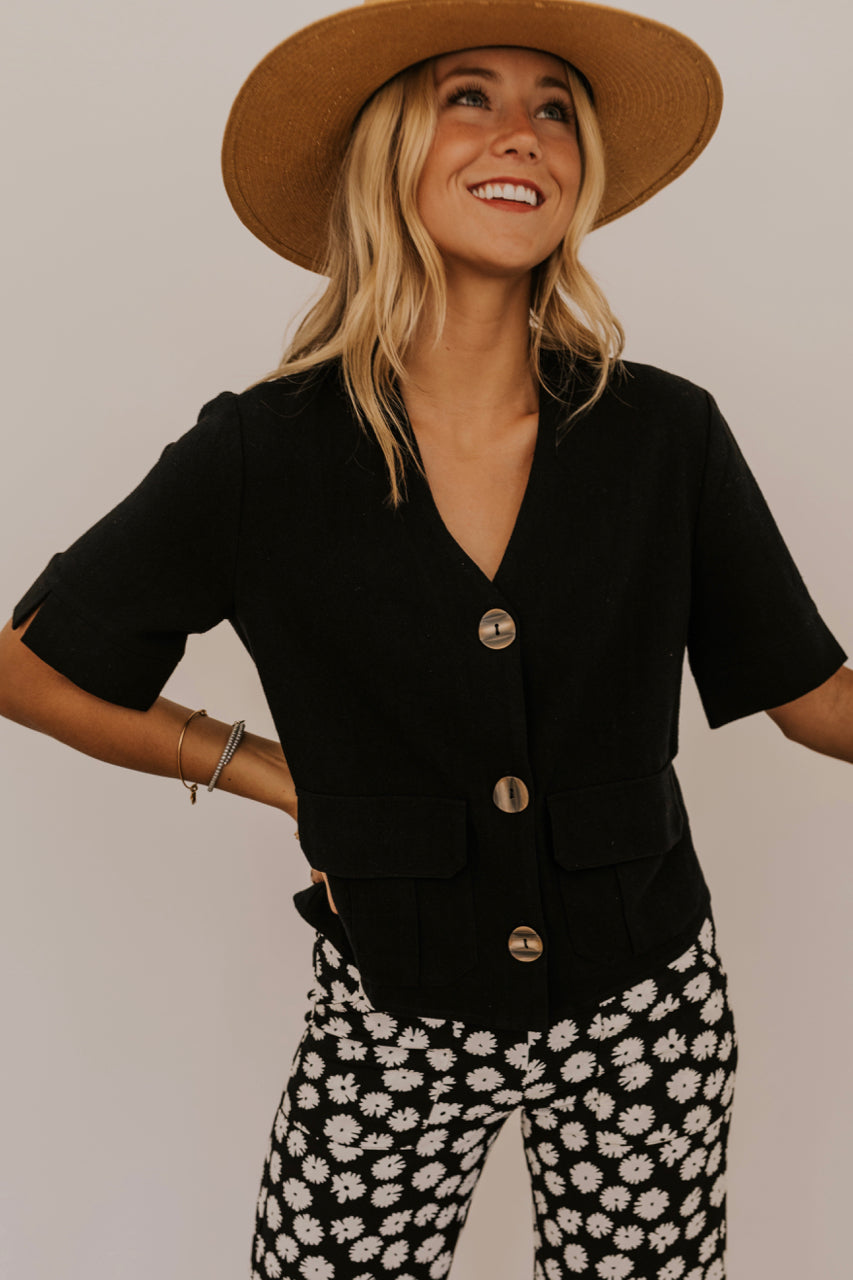 Black Button Top | ROOLEE