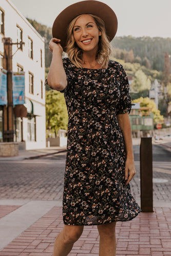 Navy Floral Dress | ROOLEE