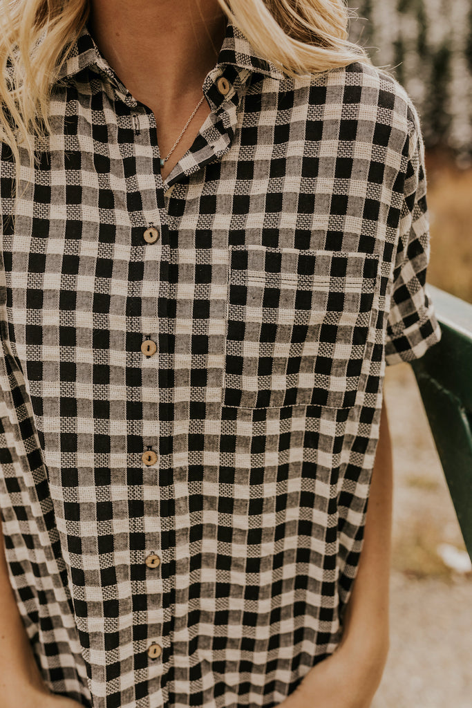 Checkered Button Up Blouse | ROOLEE