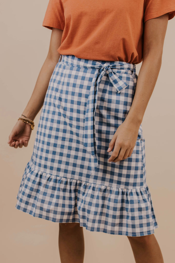 Gingham Skirt in Blue | ROOLEE